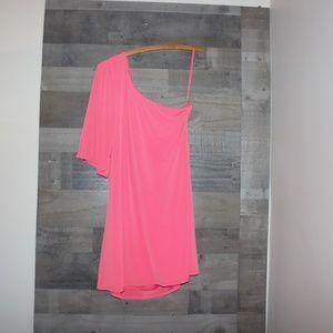Gianni Bini Large Orange One Shoulder Dress